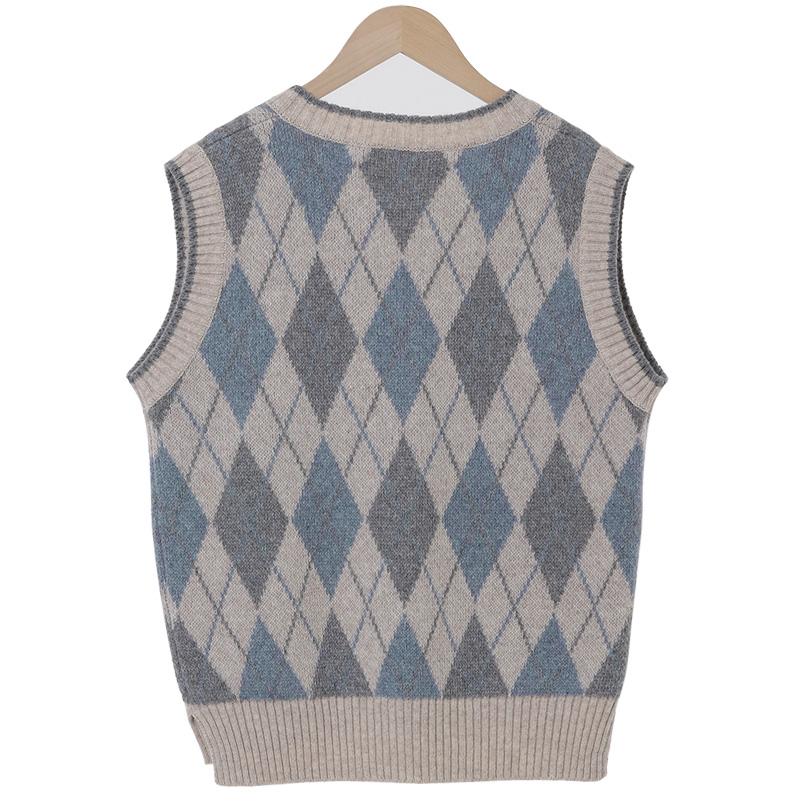 Argyle Check Wool Knit Best