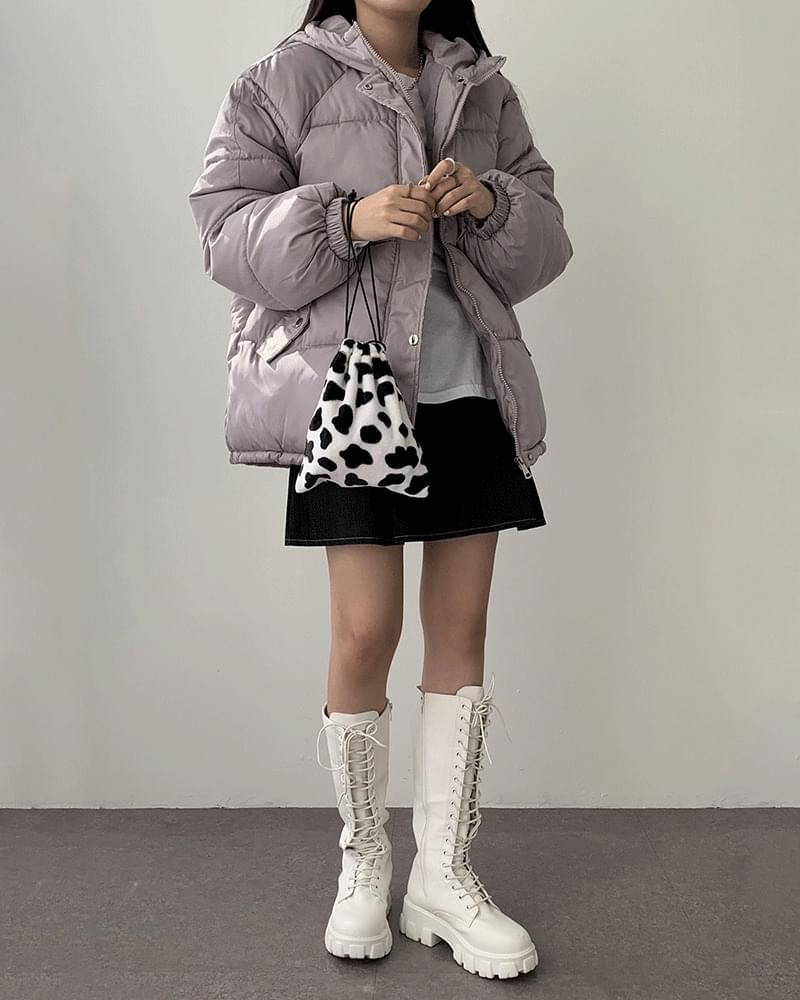 Molly pastel hooded short padding zip-up