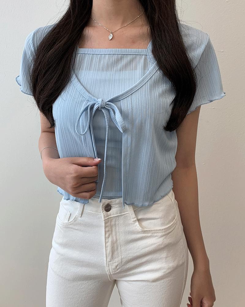 Ruffled ribbon short sleeve short cardigan set