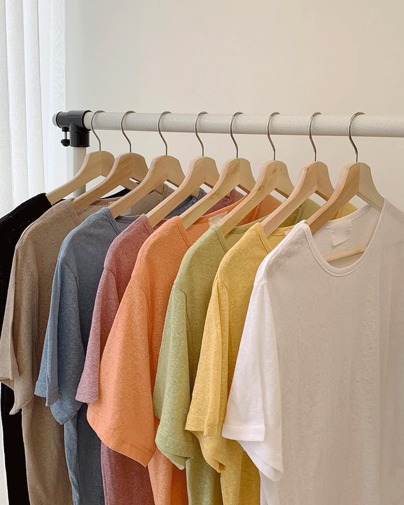 Daily Popcorn Linen Round Short-sleeved T-shirt
