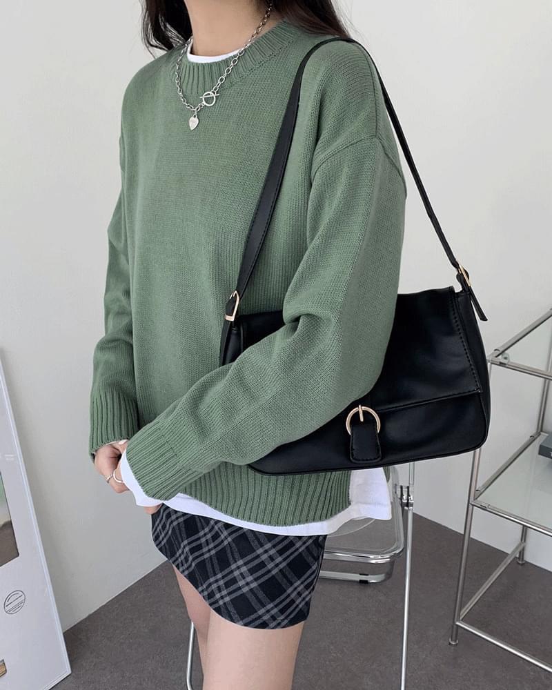 Marten Round Plain Color Knit (人氣商品配送延遲) 針織衫