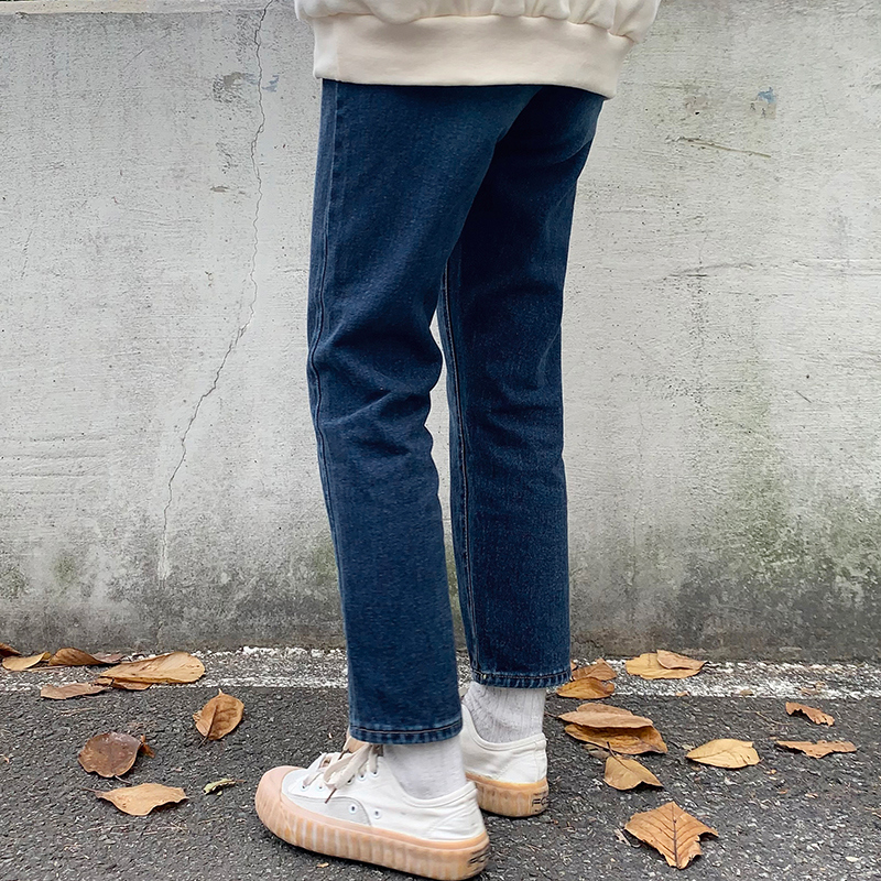 Semi- Faded Fleece-lined denim pants