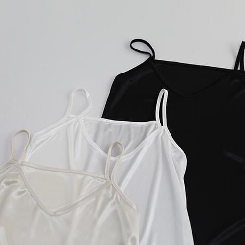 韓國空運 - Silky slip V dress 及膝洋裝