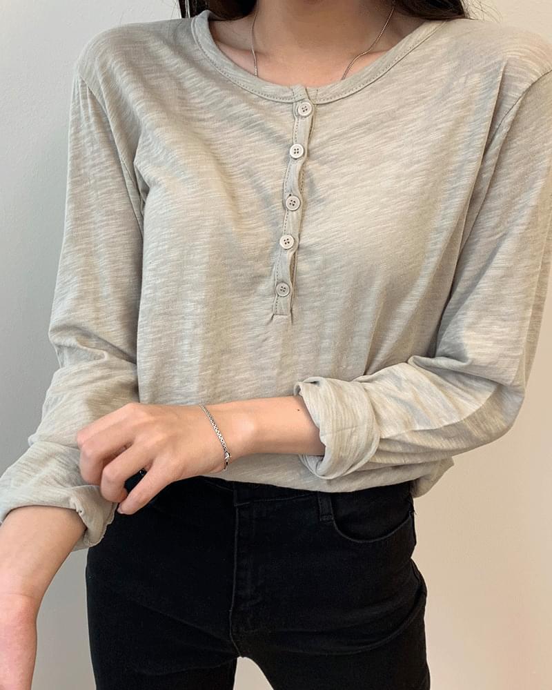 Cool Button Button V Neck Summer Long Sleeve T-shirt