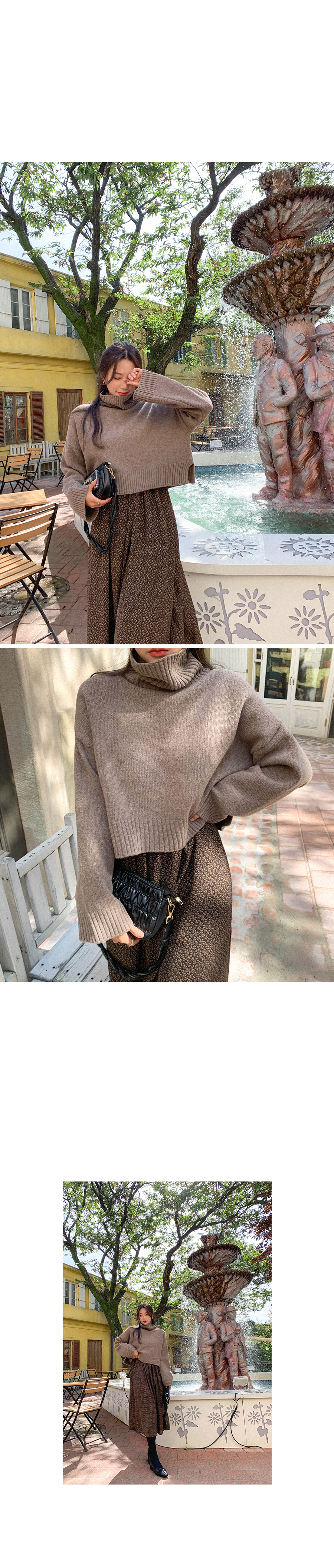 Thick turtleneck knit to prevent cold