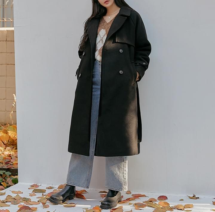混羊毛附綁帶雙排釦大衣