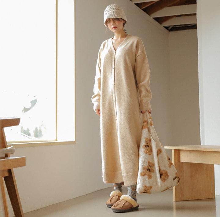 V領排釦長版針織洋裝