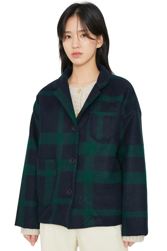 Mas check quilted short coat