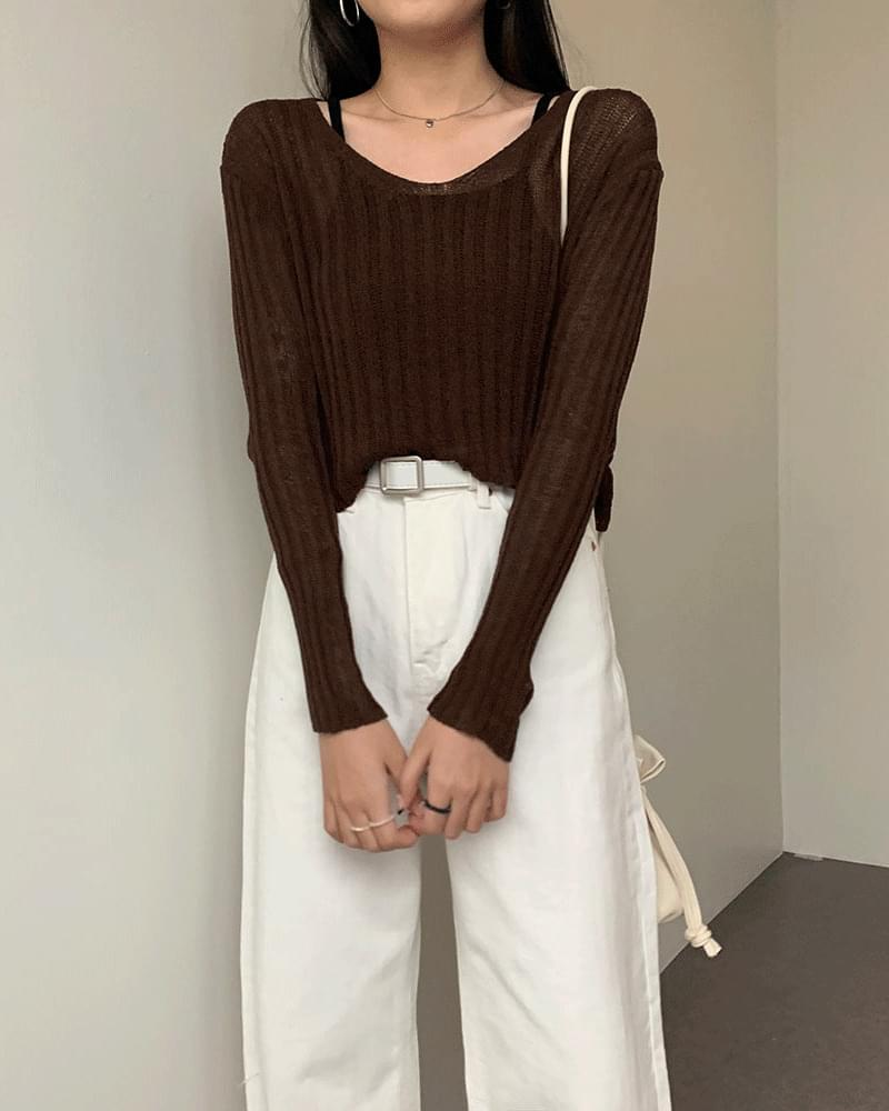 Lulu V-neck ribbed cropped knit 針織衫