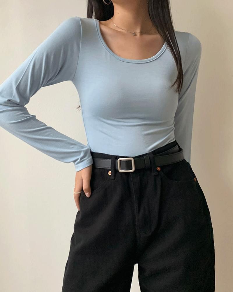You-neck Span Basic Long Sleeve T-shirt 長袖上衣