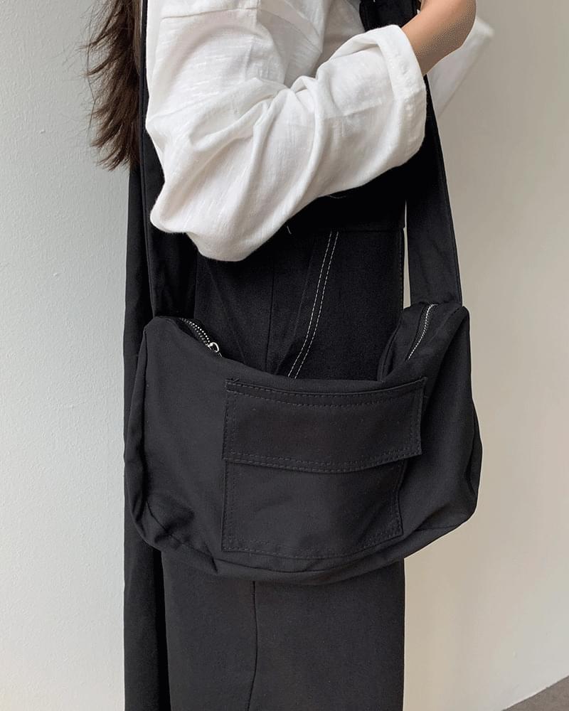 Stitched Square Pocket Canvas Shoulder/Cross Bag