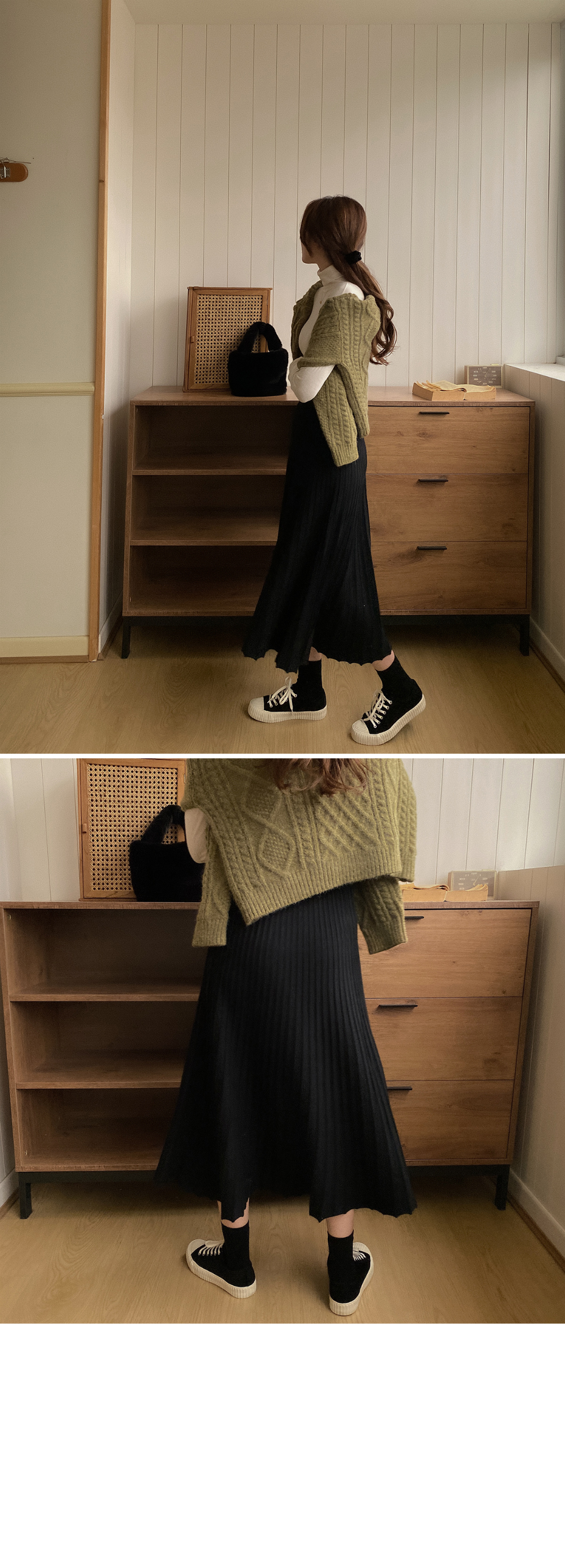 Knitted pleated skirt-4color