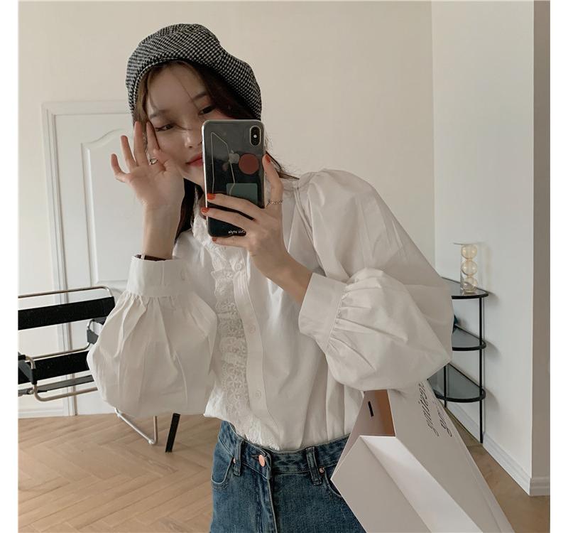 蕾絲泡泡袖襯衫