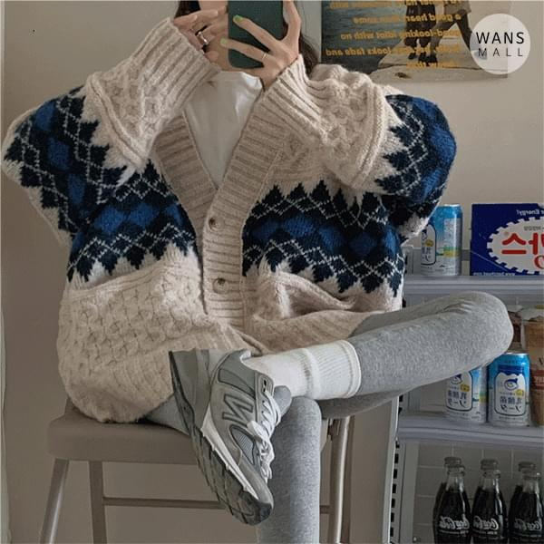 cd3278 net v-neck argyle cardigan