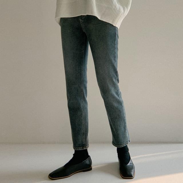 Monica slim straight brushed denim pants 牛仔褲