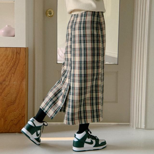 Viscose Color Mix Check Long Skirt