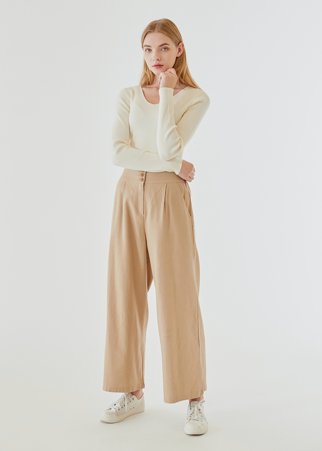 Button-up Wide Pants