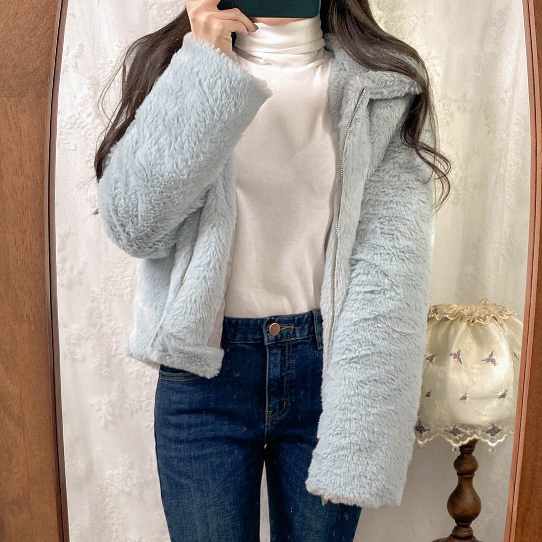 Whiskered Fleece-Lined Crop Jeans