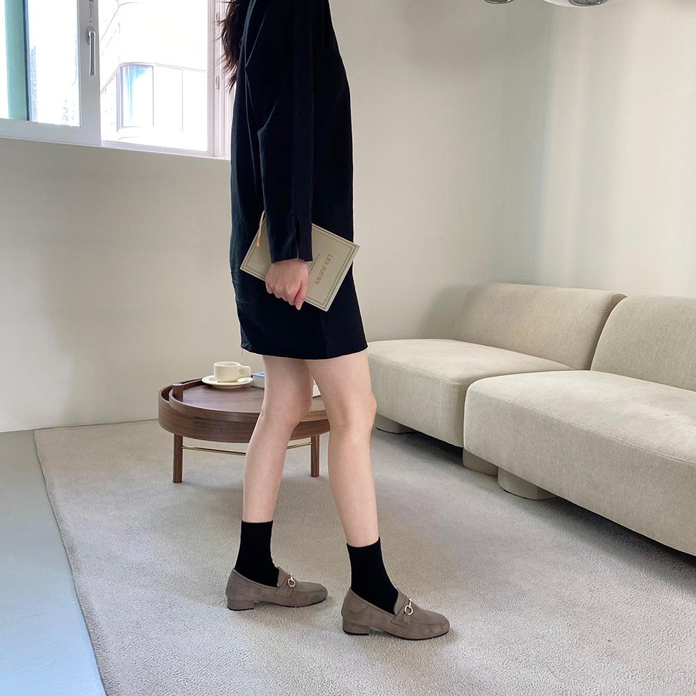 Suede fur lining loafer heel 3cm