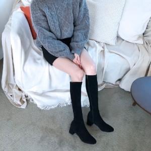 Suede Spandex Basic Long Boots 5cm