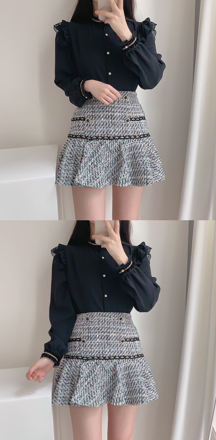 My Lynn Tweed Pearl Skirt 2color