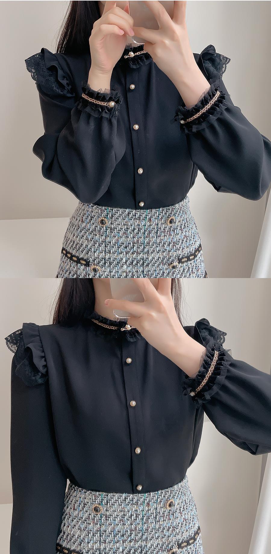 My Lynn gold thread ruffled blouse 2color