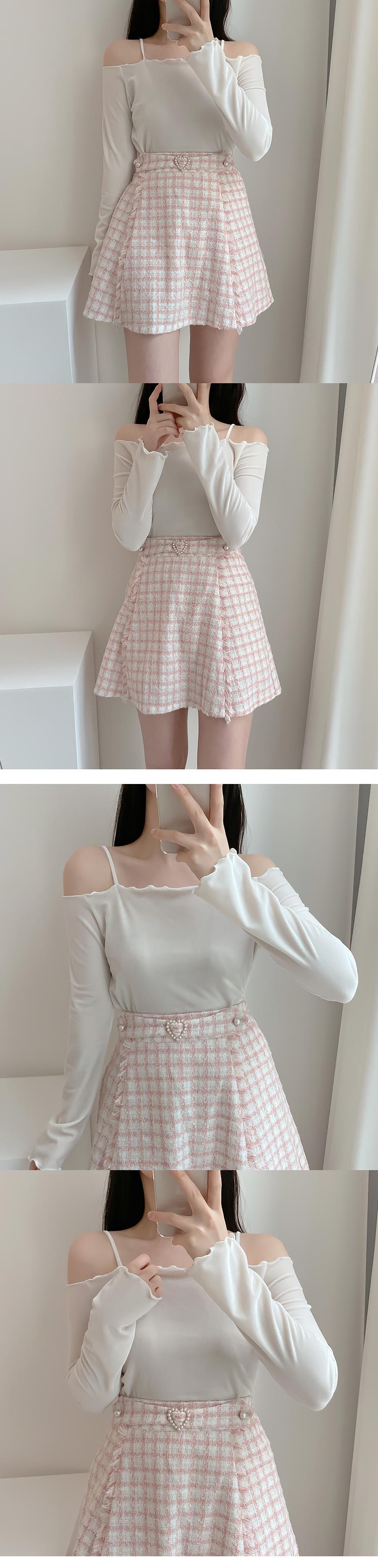 Pearl Heart Tweed Skirt Pants 2color