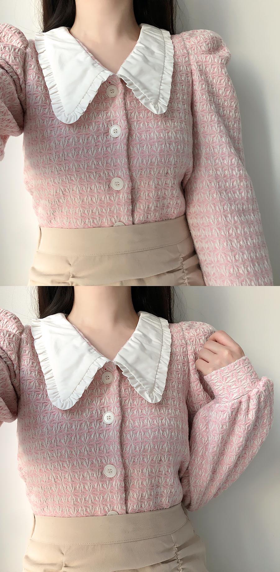 Saint Jacquard collar blouse 2color