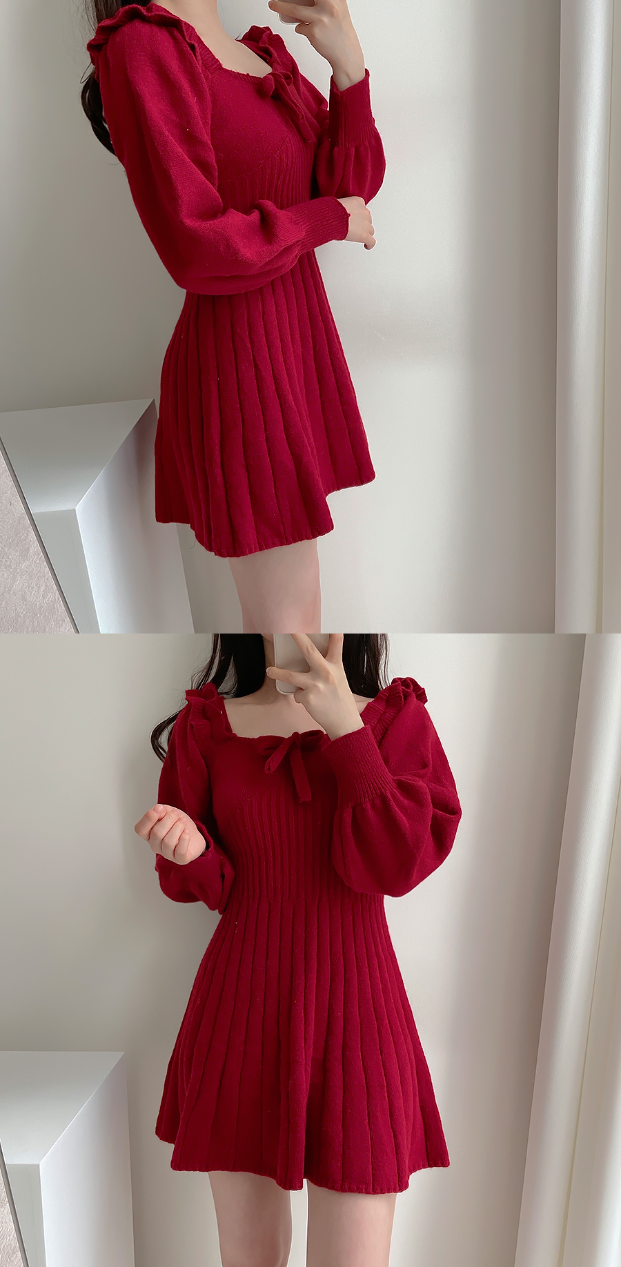 Clarine Off Shoulder Knit Dress 2color