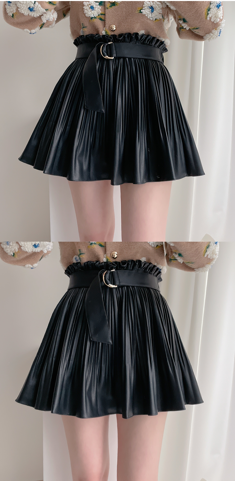 Leather Pleated D-Ring Skirt Pants