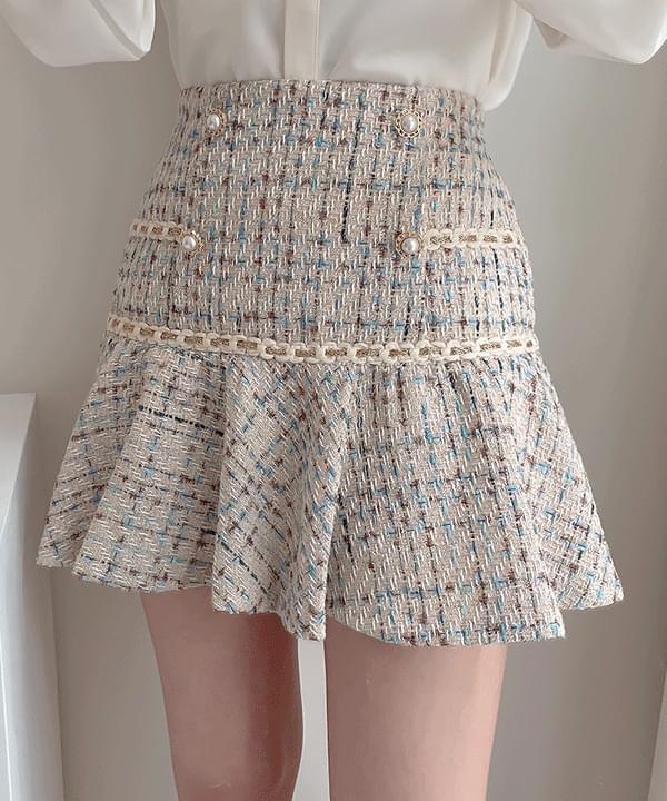 My Lynn Tweed Pearl Skirt 2color