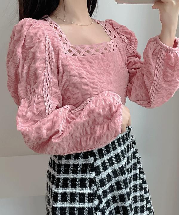 Flony lace square blouse 2color