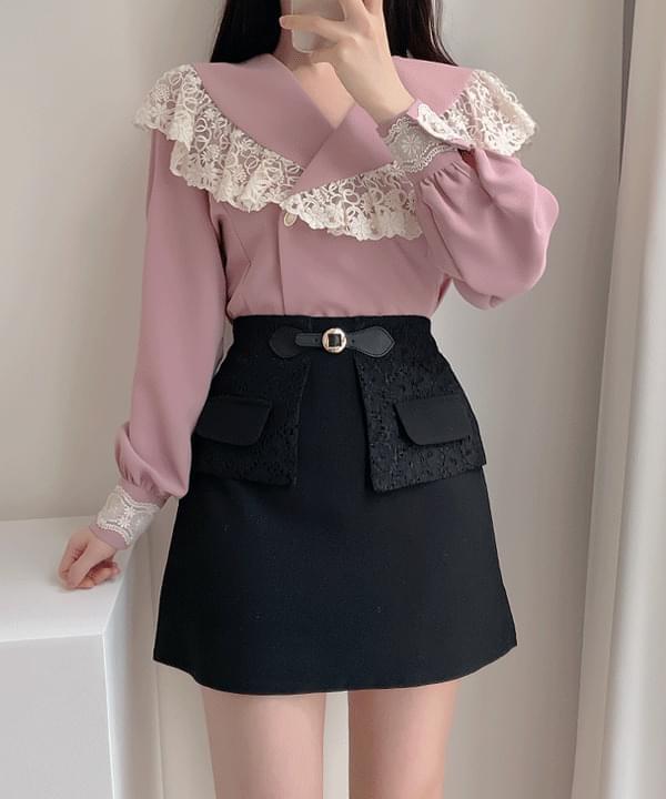 Dior lace double blouse 2color