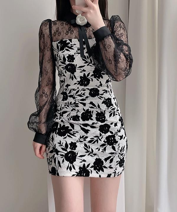 Bianc Lace Floral Dress 2color