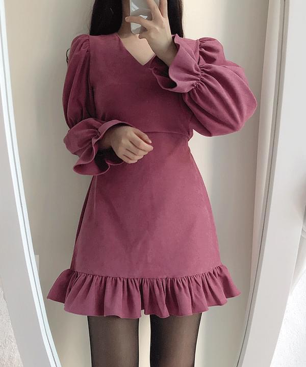 Ricoh suede puff dress 3color