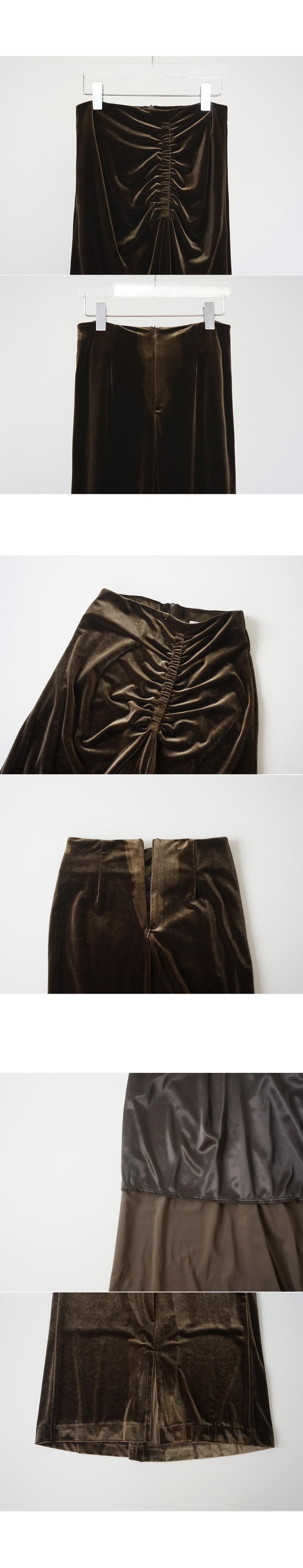 front shirring velvet skirt
