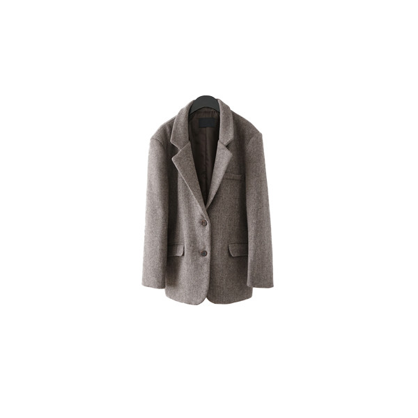 over-fit herringbone wool jacket