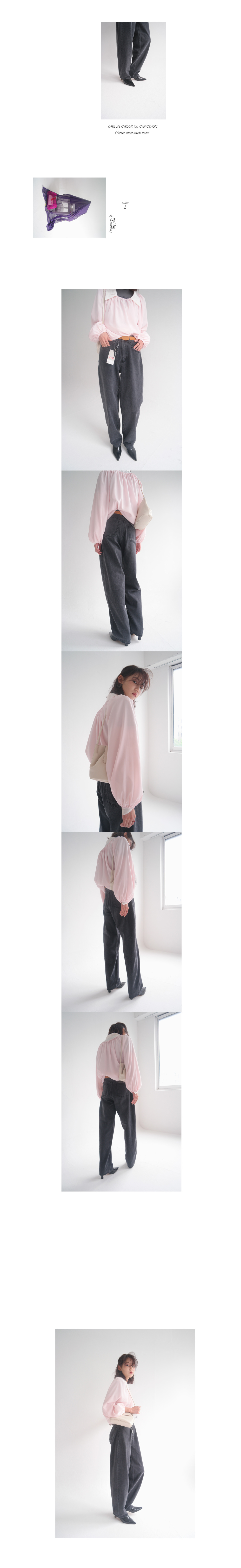 delicate shirring puff blouse (blush pink)