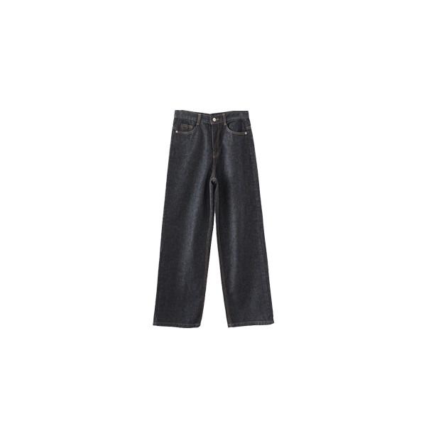 brown stitch denim pants