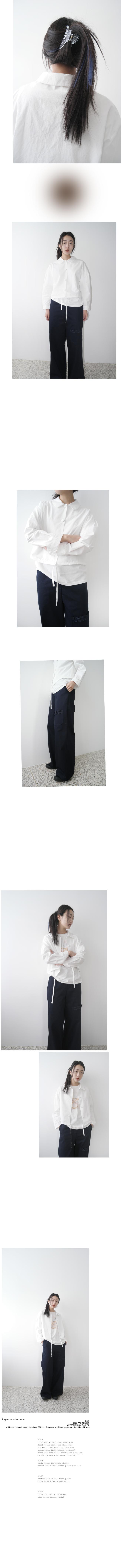 pocket frill wide cotton pants