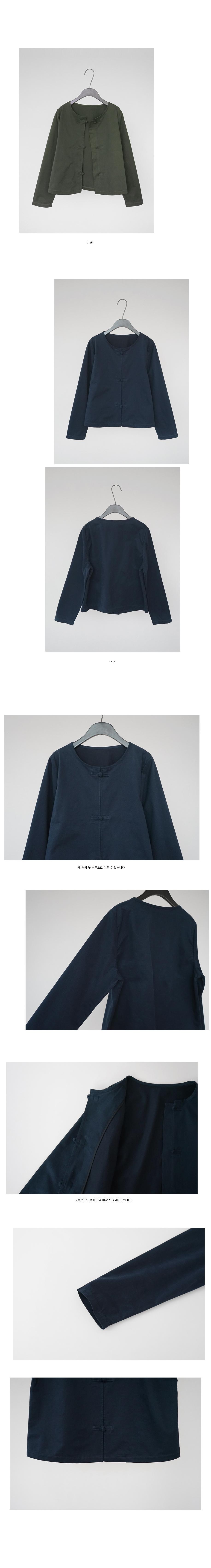 minimal gabardine knot button jacket (khaki)