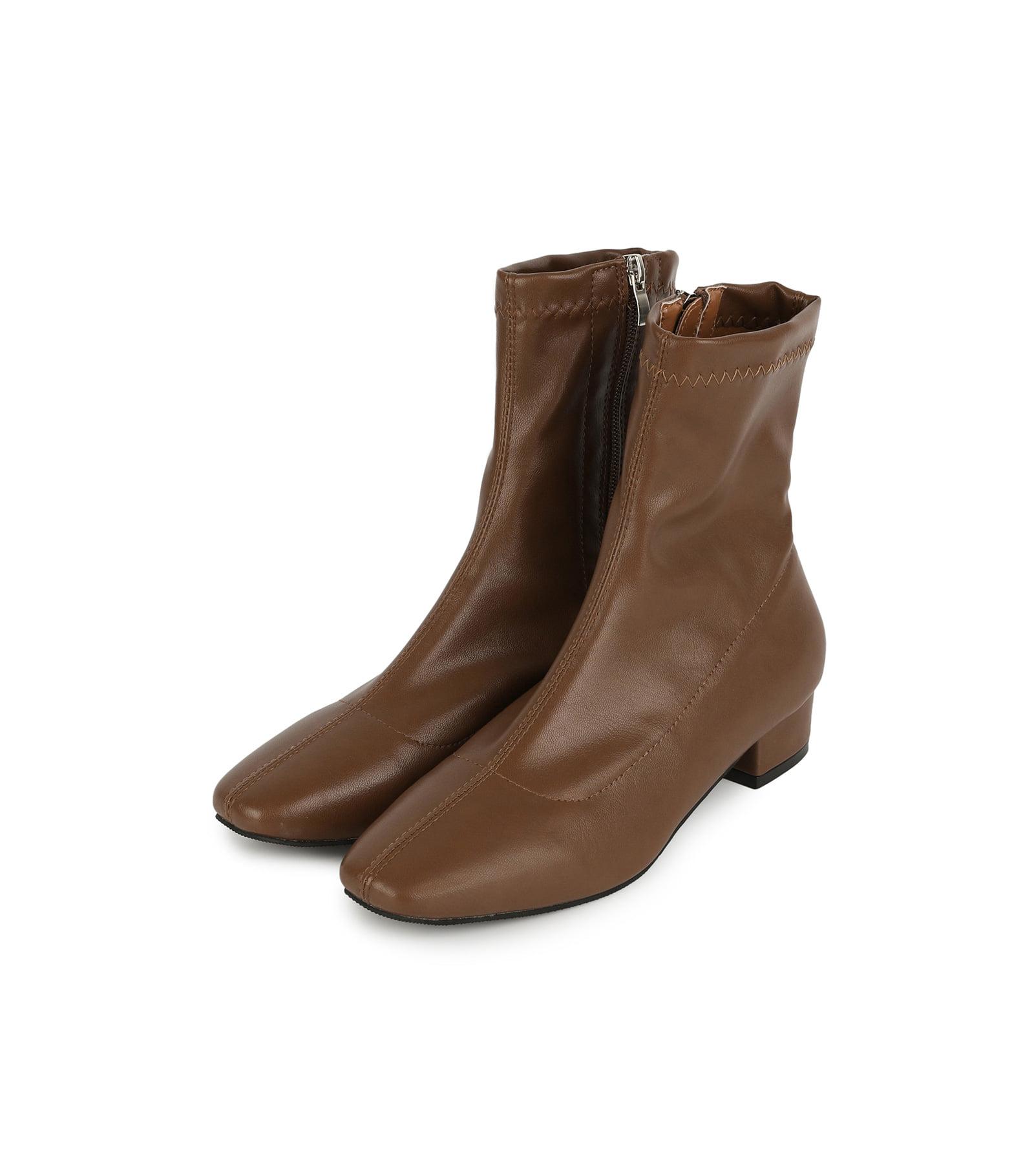 方頭條紋低跟襪靴