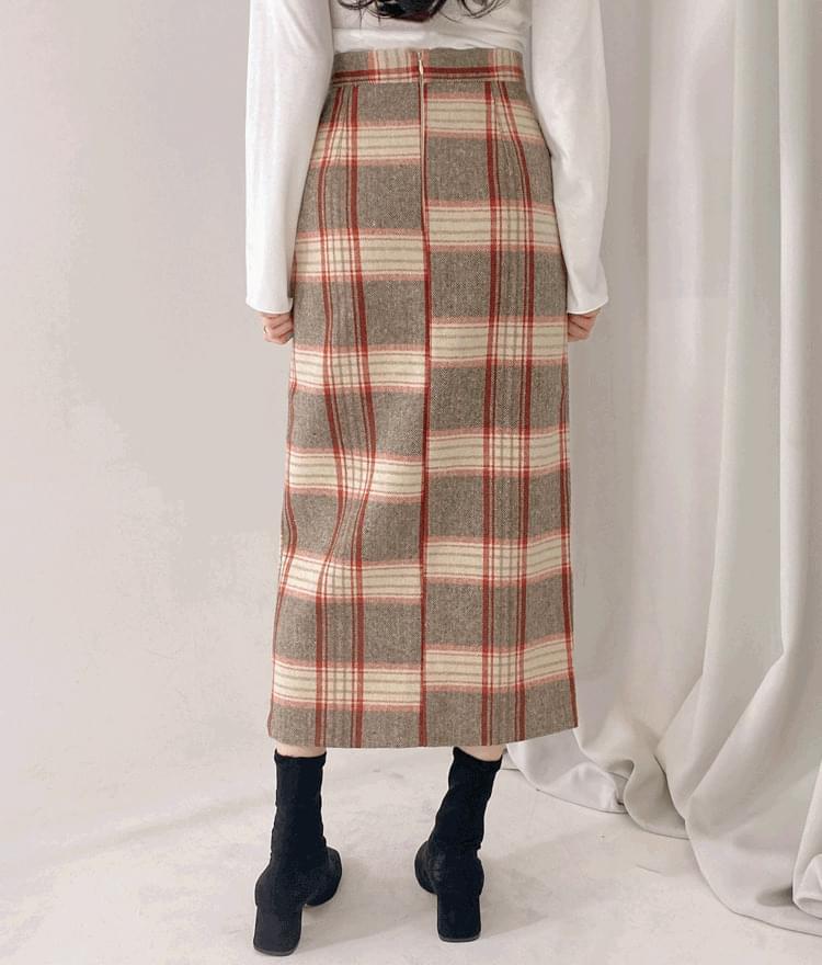 チェックロングナロースカート