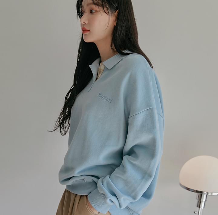 Extended Sleeve Collared Sweatshirt