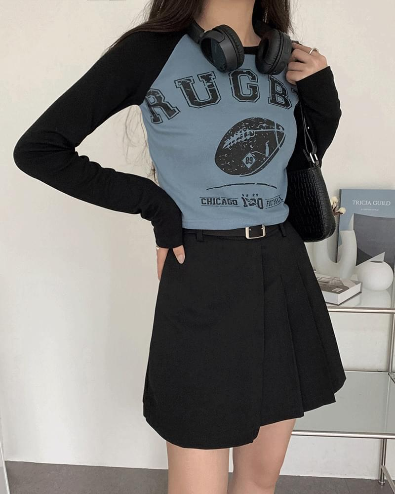 韓國空運 - Rugby Print Nagrand cropped T-shirt 長袖上衣