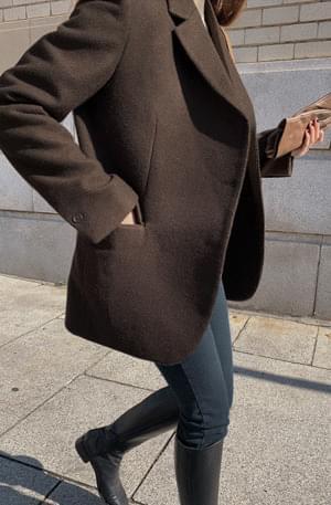 Deep Brown Unfoot Double Half Wool Jacket