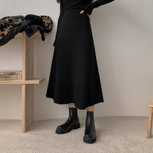 Wir Knit Flare Long Skirt