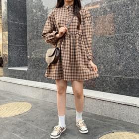 韓國空運 - Round Check Long Sleeve Dress 及膝洋裝