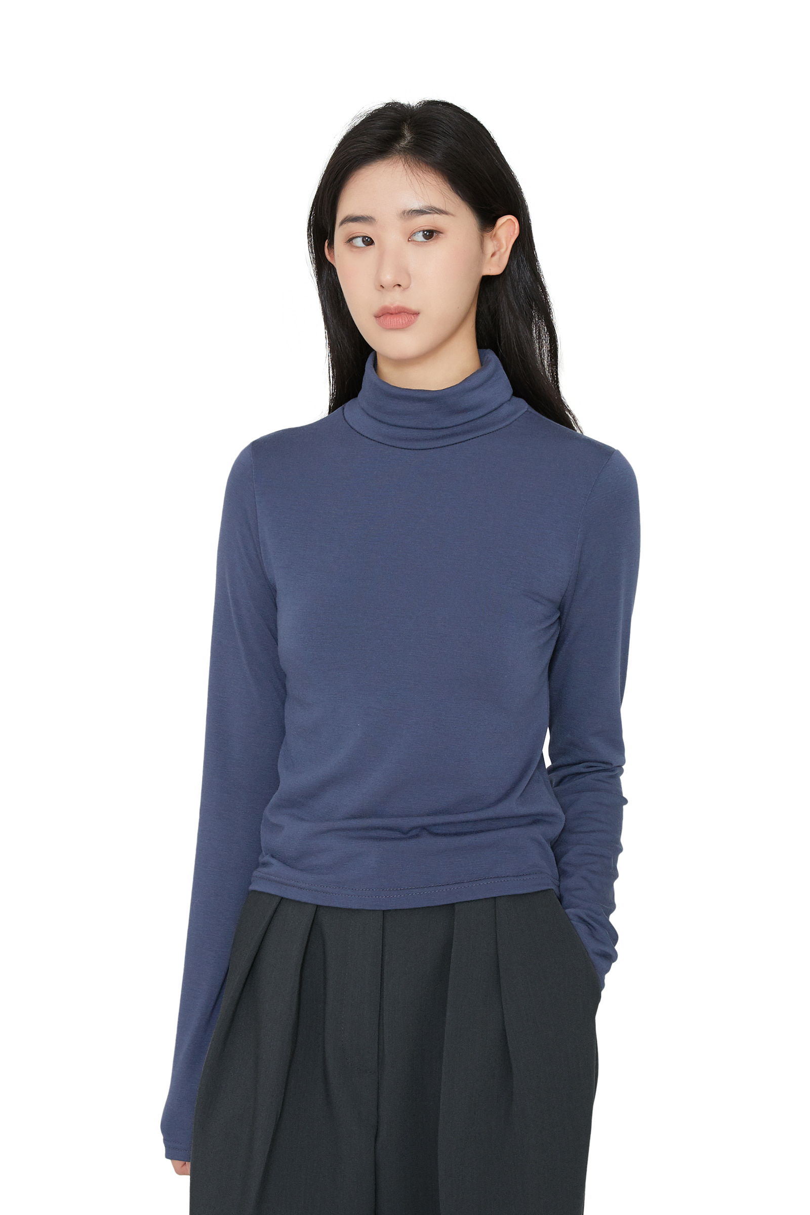 Layer brushed turtleneck top
