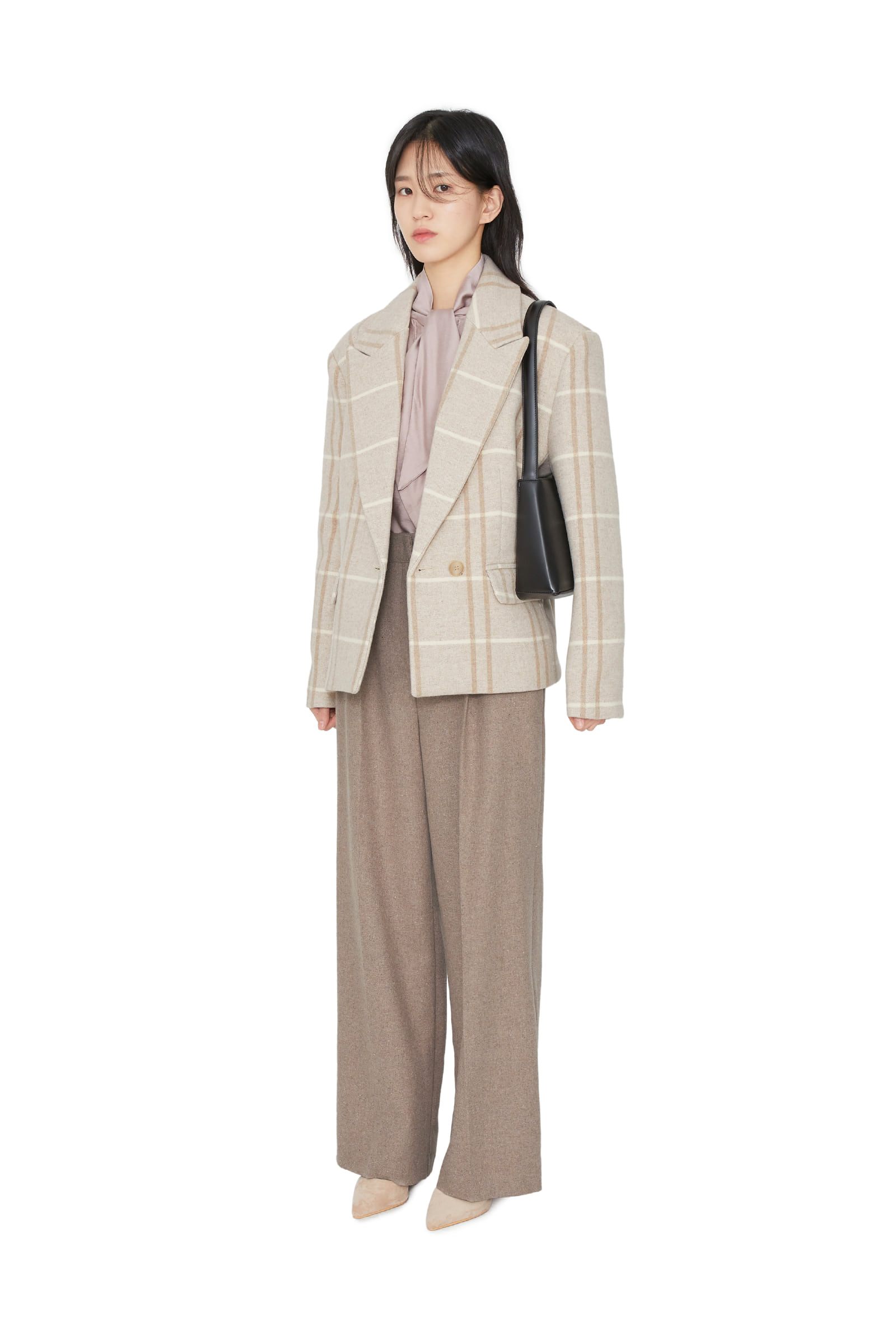 Rope Check Wool Short Blazer